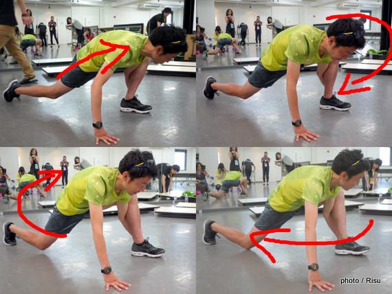 ジョギング前の股関節ストレッチ